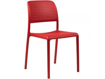 Červená plastová zahradní židle Loft
