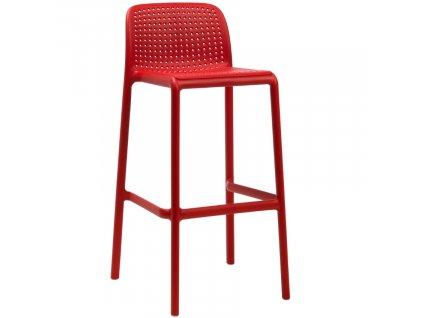 Červená plastová barová židle Loft