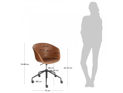 Hnědá koženková konferenční židle LaForma Zadine na kolečkách