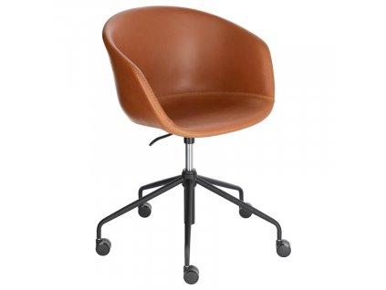 Hnědá koženková konferenční židle LaForma Zadine