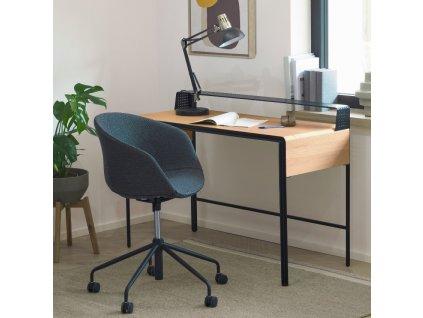 Tmavě šedá látková konferenční židle LaForma Zadine na kolečkách