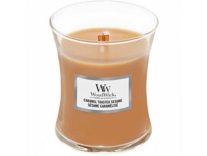 Střední vonná svíčka Woodwick, Caramel Toasted Sesame