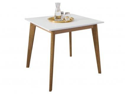 Bílý dřevěný jídelní stůl Thia 85 x 85 cm