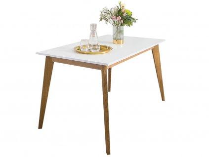 Bílý dřevěný jídelní stůl FormWood Thia 140 x 85 cm