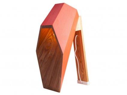 Červená dřevěná stolní lampa Angulo