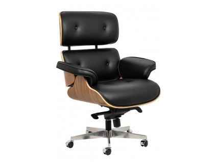 Černé kožené ořechové křeslo Lounge chair na kolečkách