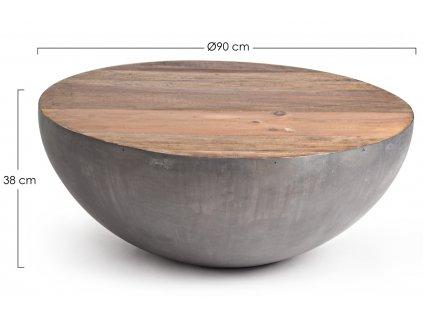 Šedý dřevěný konferenční stolek Bizzotto Lancaster 90 cm