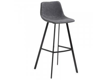 Grafitově černá koženková barová židle LaForma Andi 80 cm s kovovou podnoží
