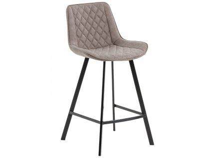Béžová koženková barová židle LaForma Arian 66 cm s kovovou podnoží