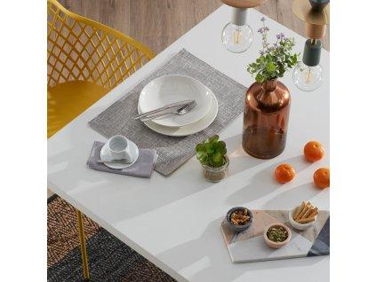 Bílý dřevěný jídelní stůl LaForma Arya 200x100 cm s bílou kovovou podnoží