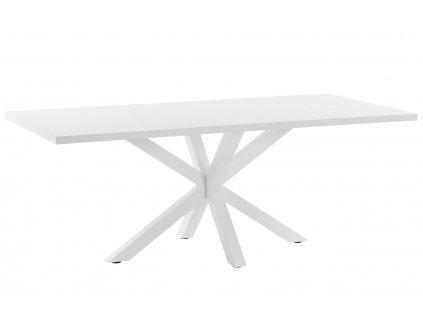 Bílý dřevěný jídelní stůl LaForma Arya 200 x 100 cm s bílou kovovou podnoží