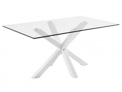 Skleněný jídelní stůl LaForma Arya 180 x 100 cm s bílou kovovou podnoží