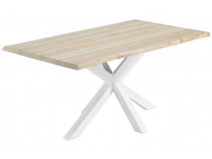 Přírodní dřevěný stůl LaForma Arya 180x100 cm bělený buk s bílou kovovou podnoží