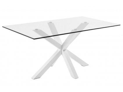 Skleněný jídelní stůl LaForma Arya 160 x 90 cm s bílou kovovou podnoží