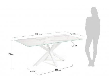 Bílý porcelánový jídelní stůl LaForma Arya 160 x 90 cm s bílou kovovou podnoží