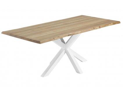 Přírodní dřevěný stůl LaForma Arya 220x100 cm buk s bílou kovovou podnoží