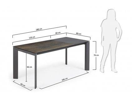 Tmavě hnědý porcelánový rozkládací jídelní stůl LaForma Atta 120/180x80 cm