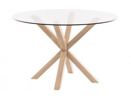 Skleněný kulatý jídelní stůl LaForma Arya Ø 119 cm s kovovou podnoží