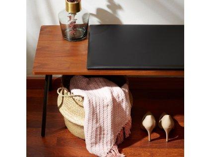 Ořechová lavice LaForma Arabella s kovovou podnoží 100 cm