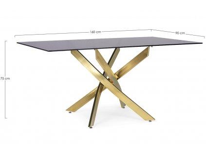 Černý skleněný jídelní stůl Bizzotto George 160 x 90 cm