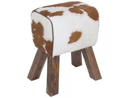 Bílo hnědá kožená stolička Bizzotto Rufalo 50 cm
