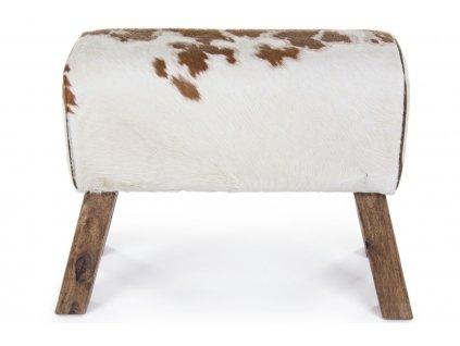 Bílo hnědá kožená lavice Bizzotto Buffalo