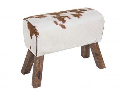 Bílo hnědá kožená lavice Bizzotto Rufalo 69 cm