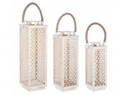 Set tří bílých kovových luceren Bizzotto Kalein