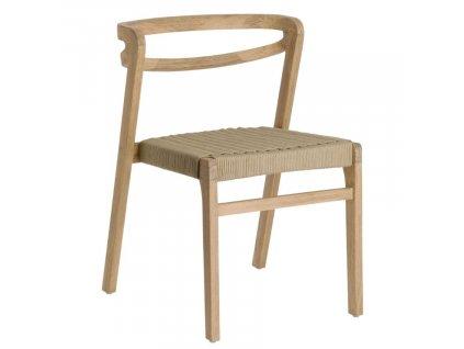 Béžová dřevěná jídelní židle LaForma Ezilda s výpletem