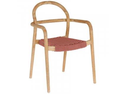 Červeno hnědá dřevěná jídelní židle LaForma Sheryl