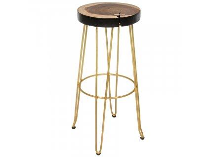 Dřevěná barová židle Bizzotto Raken 74 cm se zlatou podnoží