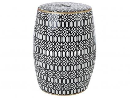 Černo bílá keramická stolička Bizzotto Sfinge 46 cm