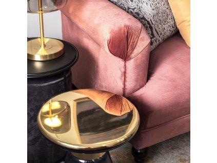 Černý odkládací stolek Bizzotto Annika se sametovým taburetem III.