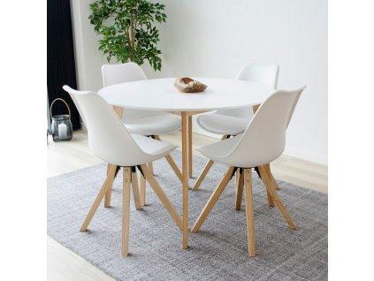 Přírodní dřevěný kulatý jídelní stůl Vinay 105 cm