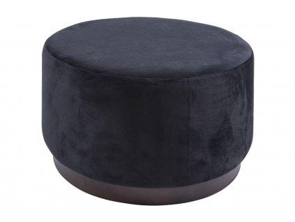 Černý sametový taburet Tia 50 cm