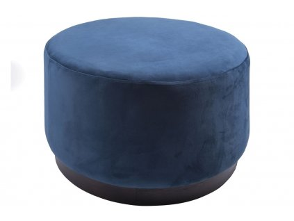 Tmavě modrý sametový taburet Tia 50 cm