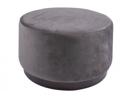 Tmavě šedý sametový taburet Tia 50 cm