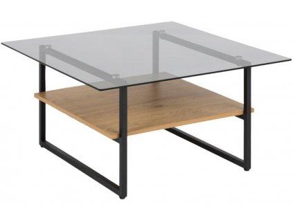 Přírodní skleněný konferenční stolek Olendr 80 x 80 cm