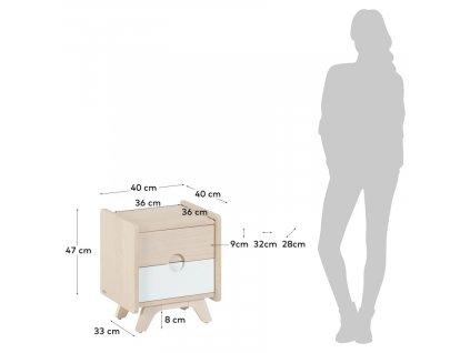 Dřevěný noční stolek LaForma Nunila 40 x 40 cm