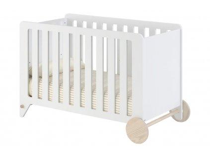 Bílá dřevěná dětská postýlka LaForma Nunila 120 x 60 cm