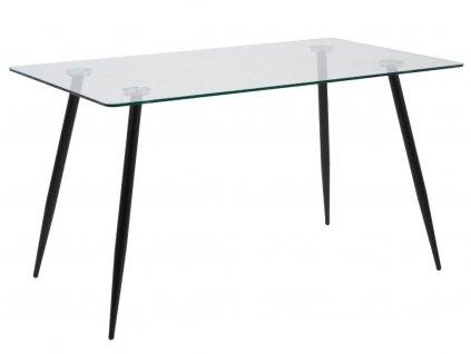 Černý skleněný jídelní stůl Wanda 140 cm