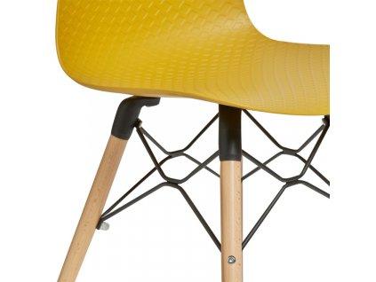 Hořčicově žlutá plastová jídelní židle Marckeric Golf