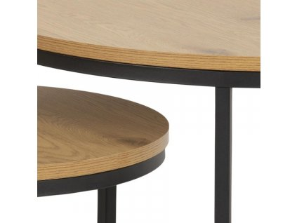 Set dvou přírodních dřevěných konferenčních stolků Sprut 80/50 cm