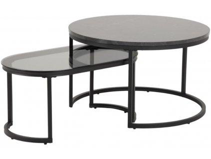Set dvou černých konferenčních stolků Sprut 70/70 x 70/40 cm