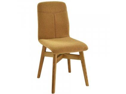 Hořčicově žlutá látková jídelní židle Yori