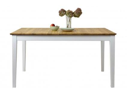 Masivní dubový rozkládací jídelní stůl Tommen  s bílou podnoží 140-180 x 90 cm