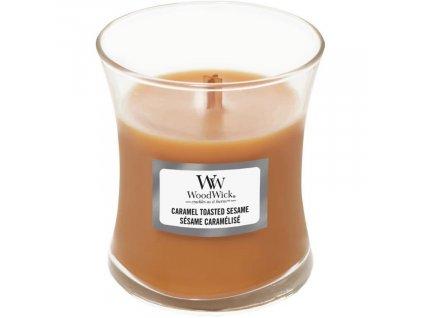 Malá vonná svíčka Woodwick, Caramel Toasted Sesame