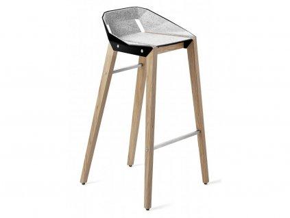 Černo šedá plstěná barová židle Tabanda DIAGO s dubovou podnoží 62 cm