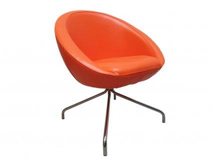 Oranžové koženkové křeslo MARBET LOBO s chromovou podnoží