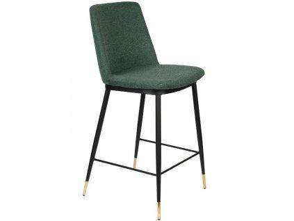 Tmavě zelená látková barová židle WLL LIONEL 65 cm